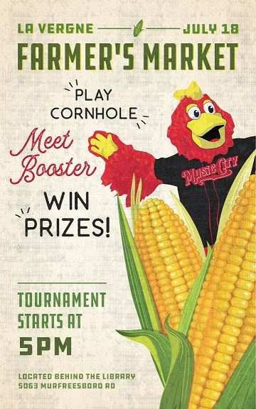 Image of farmers market poster with Nashville Sounds mascot Booster