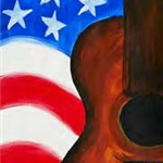 image of American flag with guitar painting originally created by Creatively Uncorked www.creatively