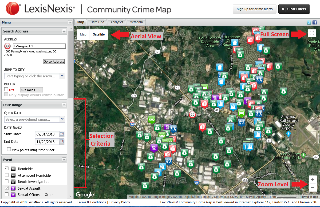 Click here to view crimes on Community Crime Map