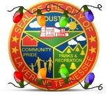 Image of city seal with Christmas lights
